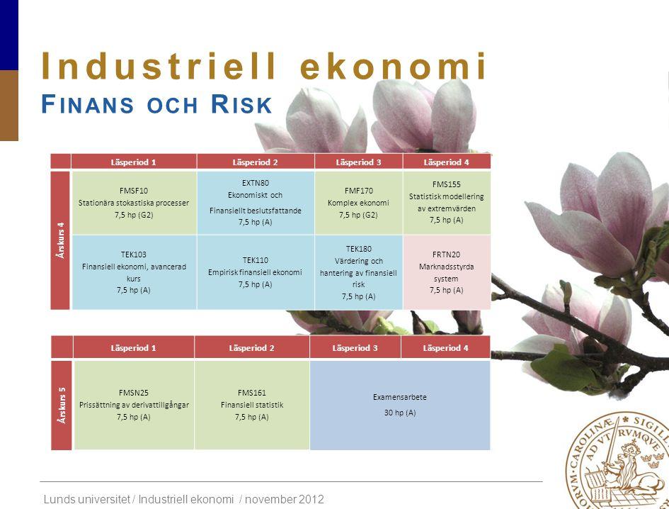Lunds universitet / Industriell ekonomi / november 2012 Industriell ekonomi F INANS OCH R ISK Läsperiod 1Läsperiod 2Läsperiod 3Läsperiod 4 Årskurs 4 F