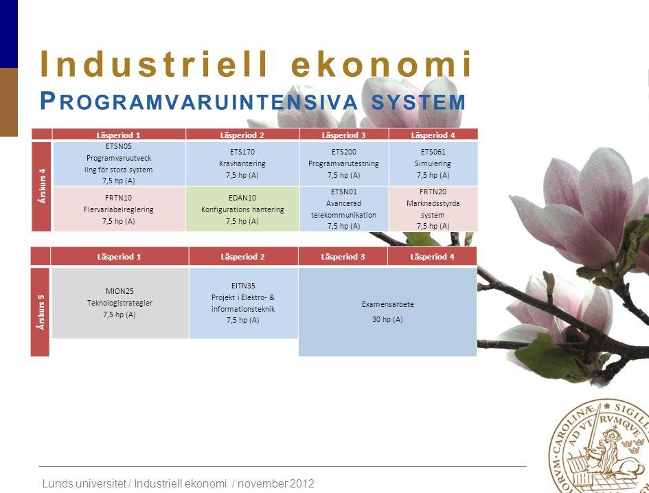 Lunds universitet / Industriell ekonomi / november 2012 Industriell ekonomi P ROGRAMVARUINTENSIVA SYSTEM Läsperiod 1Läsperiod 2Läsperiod 3Läsperiod 4
