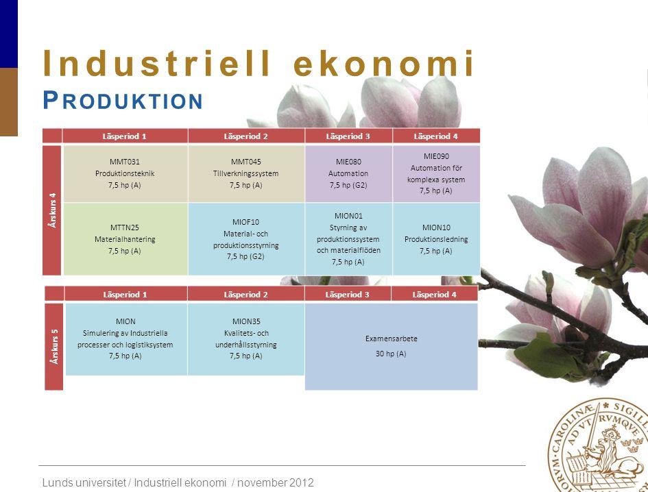 Lunds universitet / Industriell ekonomi / november 2012 Industriell ekonomi P RODUKTION Läsperiod 1Läsperiod 2Läsperiod 3Läsperiod 4 Årskurs 4 MMT031