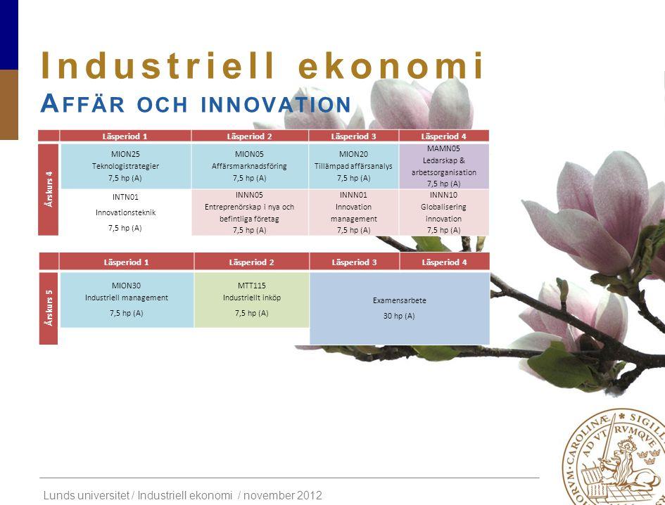 Lunds universitet / Industriell ekonomi / november 2012 Industriell ekonomi A FFÄR OCH INNOVATION Läsperiod 1Läsperiod 2Läsperiod 3Läsperiod 4 Årskurs