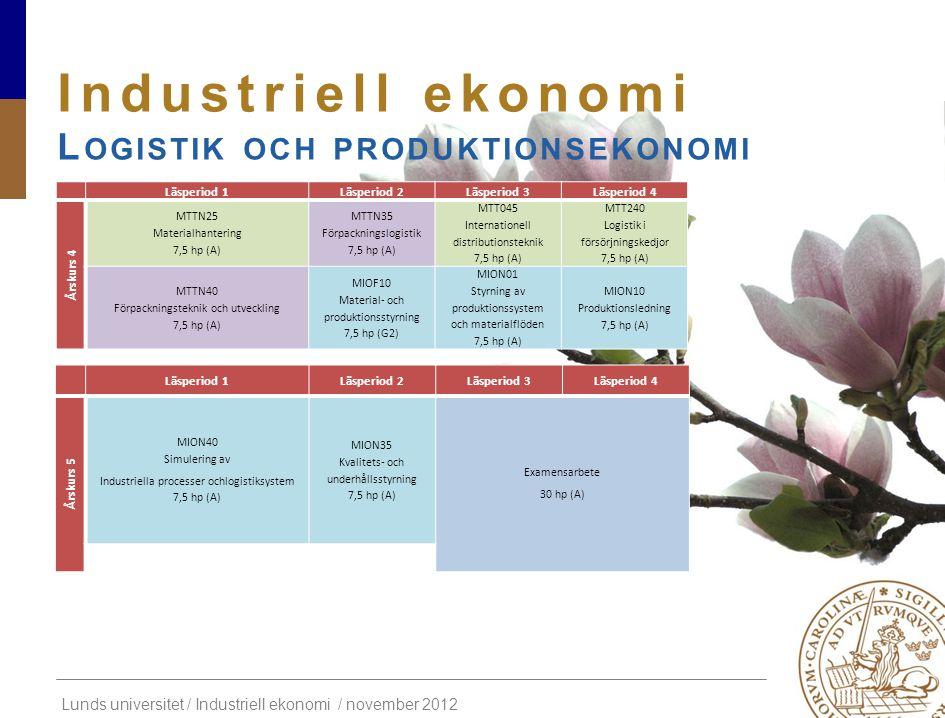 Lunds universitet / Industriell ekonomi / november 2012 Industriell ekonomi L OGISTIK OCH PRODUKTIONSEKONOMI Läsperiod 1Läsperiod 2Läsperiod 3Läsperio