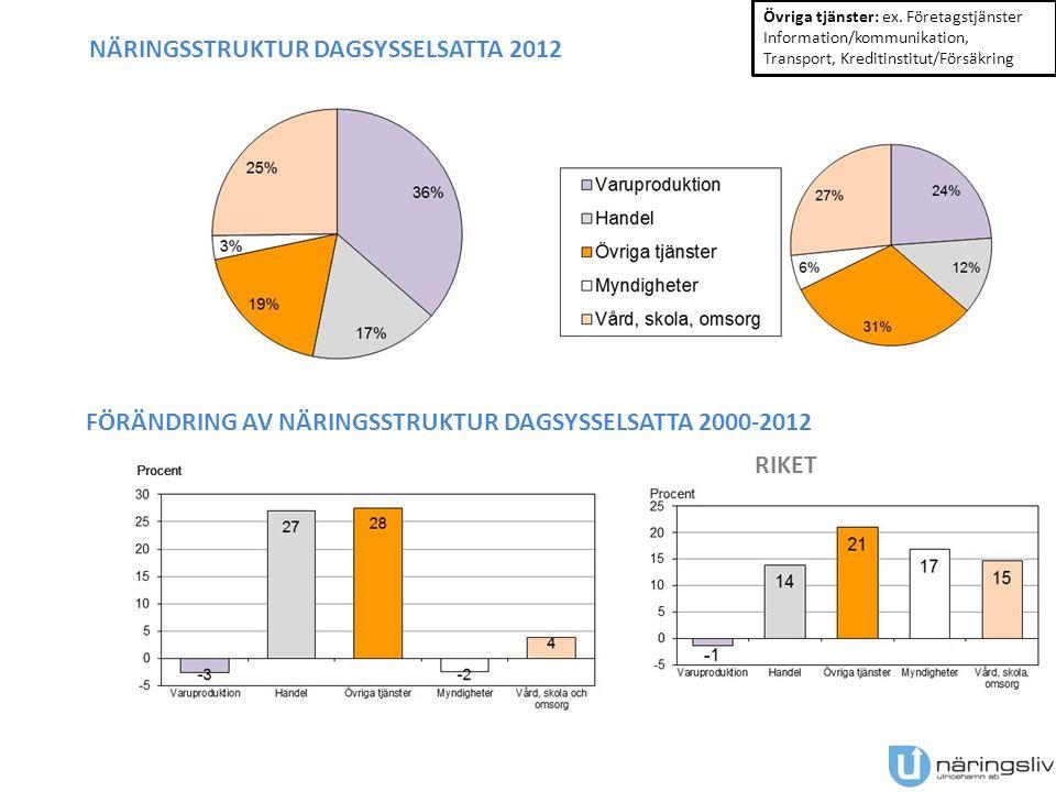 NÄRINGSSTRUKTUR DAGSYSSELSATTA 2012 Övriga tjänster: ex.