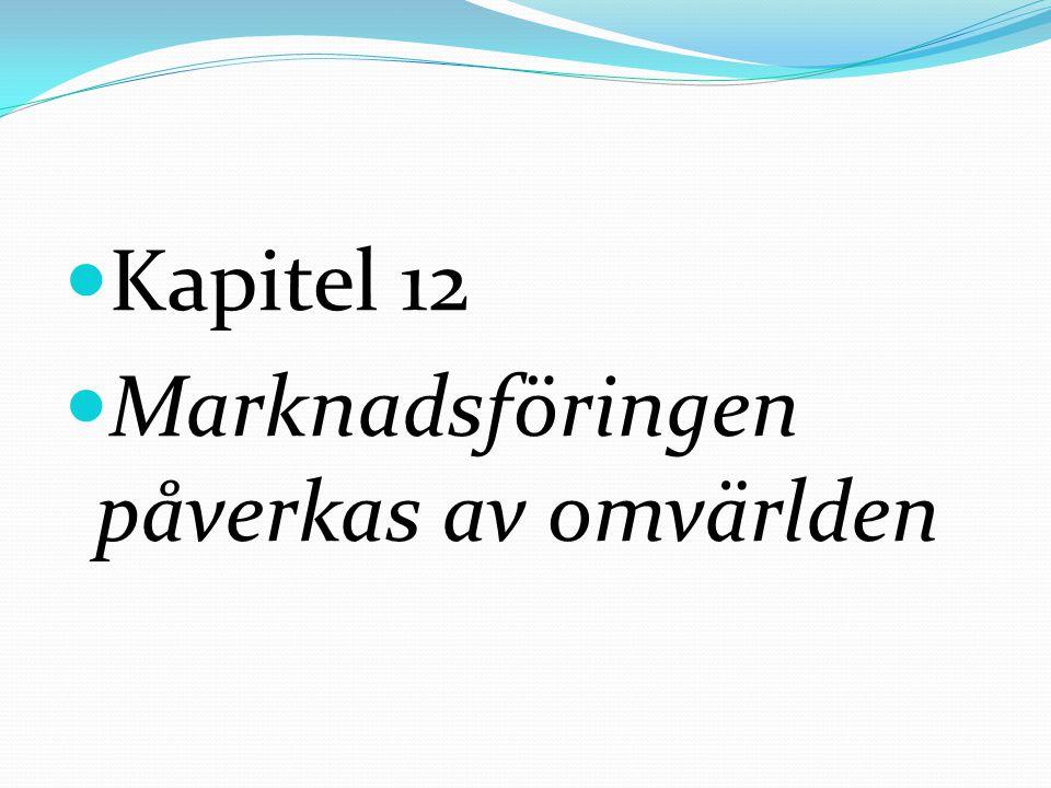 Kapitel 12 Marknadsföringen påverkas av omvärlden