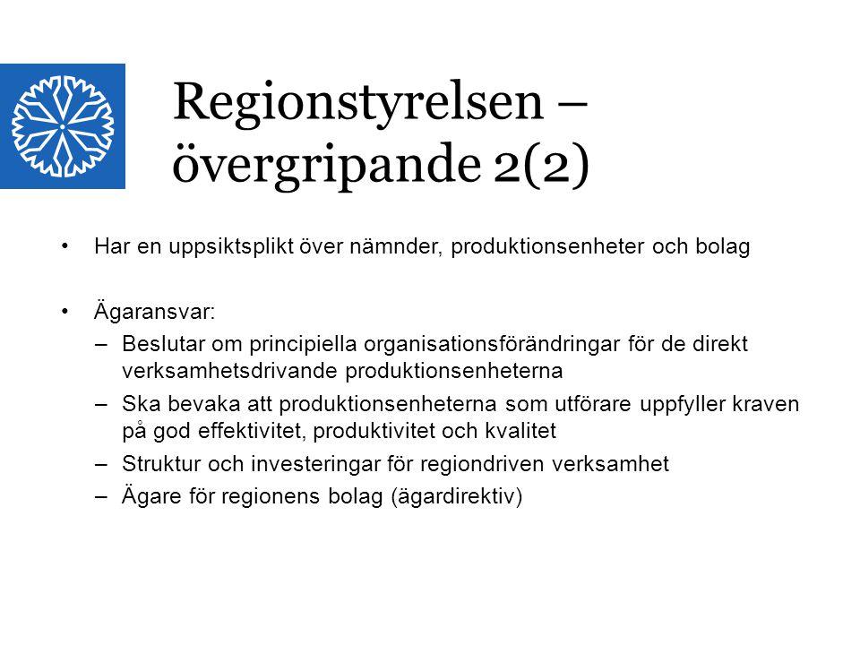 Landstinget i Östergötland Har en uppsiktsplikt över nämnder, produktionsenheter och bolag Ägaransvar: –Beslutar om principiella organisationsförändri