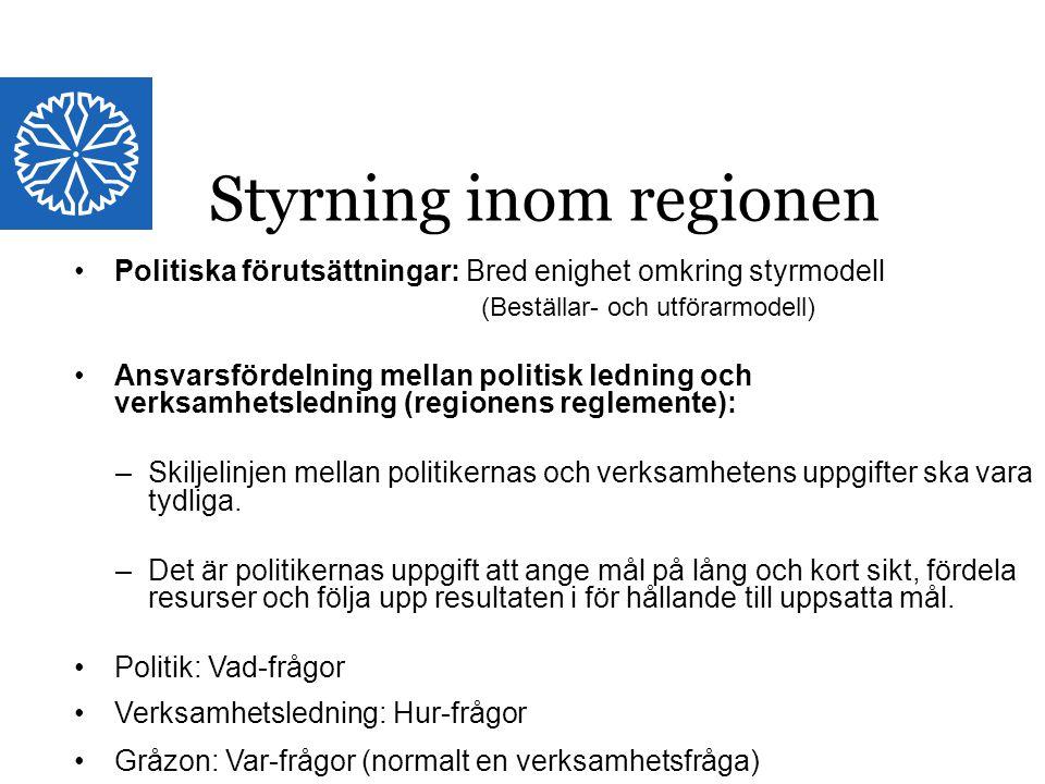 Landstinget i Östergötland Politiska förutsättningar: Bred enighet omkring styrmodell (Beställar- och utförarmodell) Ansvarsfördelning mellan politisk
