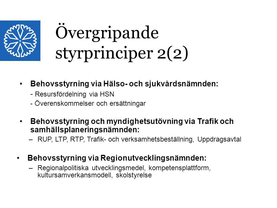 Landstinget i Östergötland Övergripande styrprinciper 2(2) Behovsstyrning via Hälso- och sjukvårdsnämnden: - Resursfördelning via HSN - Överenskommels
