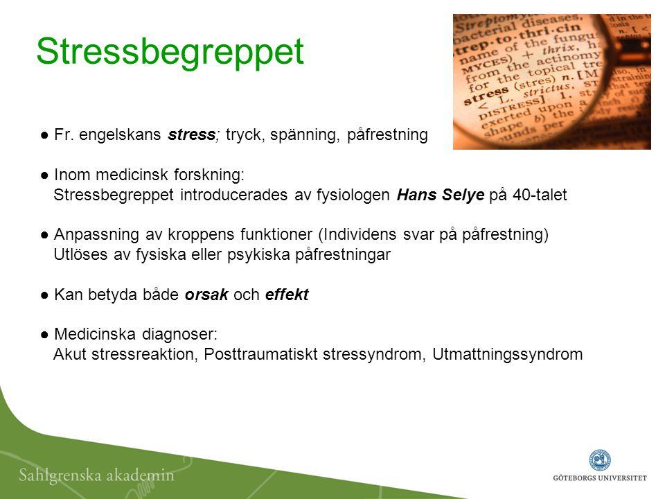 ● Fr. engelskans stress; tryck, spänning, påfrestning ● Inom medicinsk forskning: Stressbegreppet introducerades av fysiologen Hans Selye på 40-talet