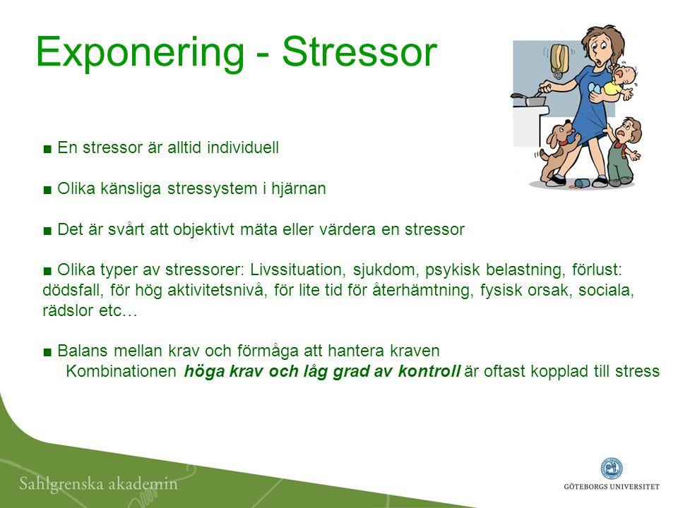 ■ En livsviktig funktion som hjälper kroppen att prestera ■ Komplicerat samspel mellan hjärna och kropp - via nervsignaler, neurotransmittorer, hormoner och immunsystem ■ Aktivering av stressaxeln - hypotalamus och hypofysen i hjärnan och binjurarna ■ Ohälsosamma stressnivåer – ger negativa känslomässiga effekter/symtom: Irritation, spänning, nervositet, rädsla, ängslighet, sömnproblem ■ Kortvarig stress kan vara bra för hälsan och förbättra prestationerna - Långvarig stress är ofta skadlig för kroppen Stressreaktionen