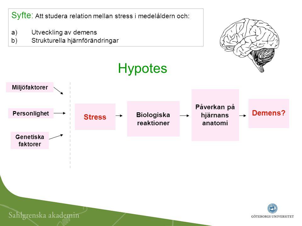 Stress Biologiska reaktioner Personlighet Miljöfaktorer Demens? Genetiska faktorer Påverkan på hjärnans anatomi Hypotes Syfte: Att studera relation me
