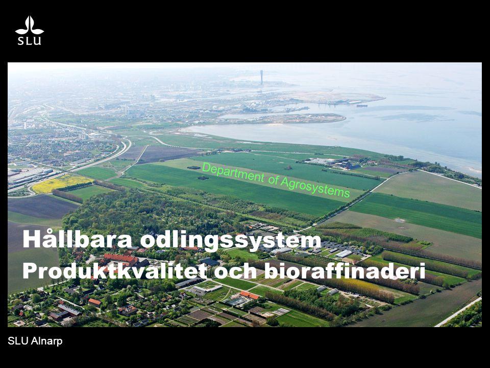 SLU Alnarp Department of Agrosystems Produktkvalitet och bioraffinaderi Hållbara odlingss ystem