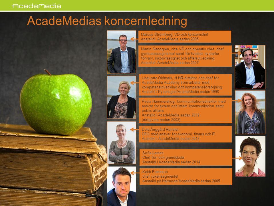 AcadeMedias koncernledning Paula Hammerskog, kommunikationsdirektör med ansvar för extern och intern kommunikation samt public affairs. Anställd i Aca