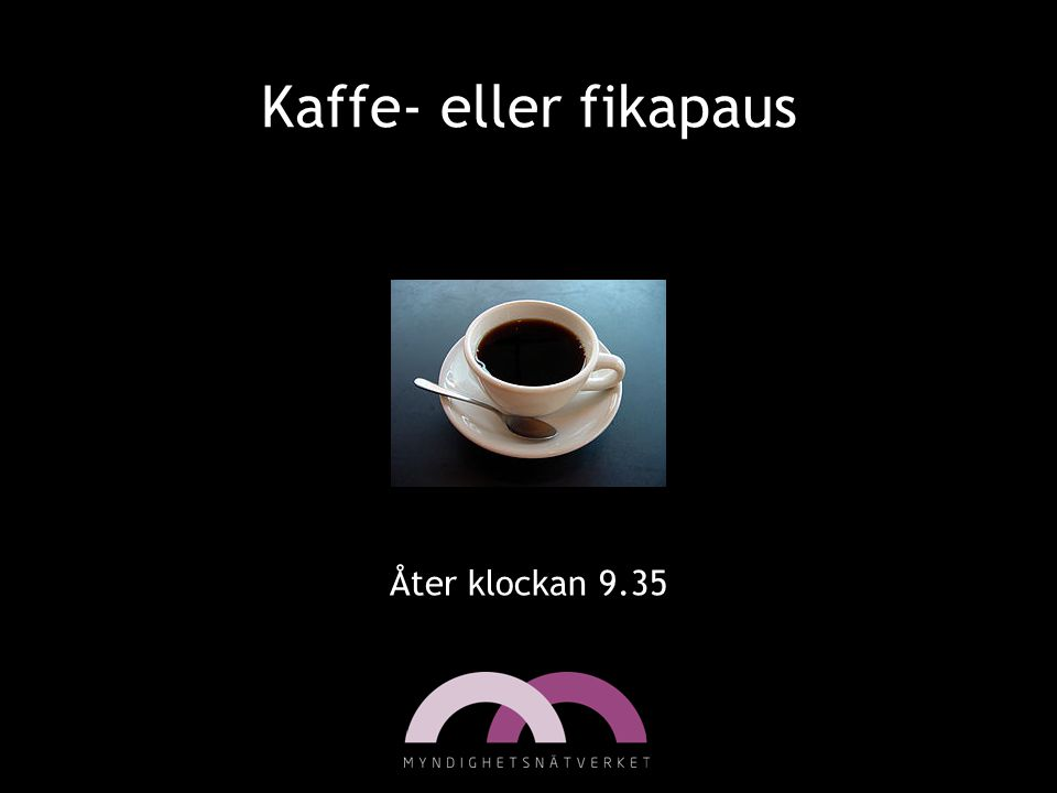 Kaffe- eller fikapaus Åter klockan 9.35