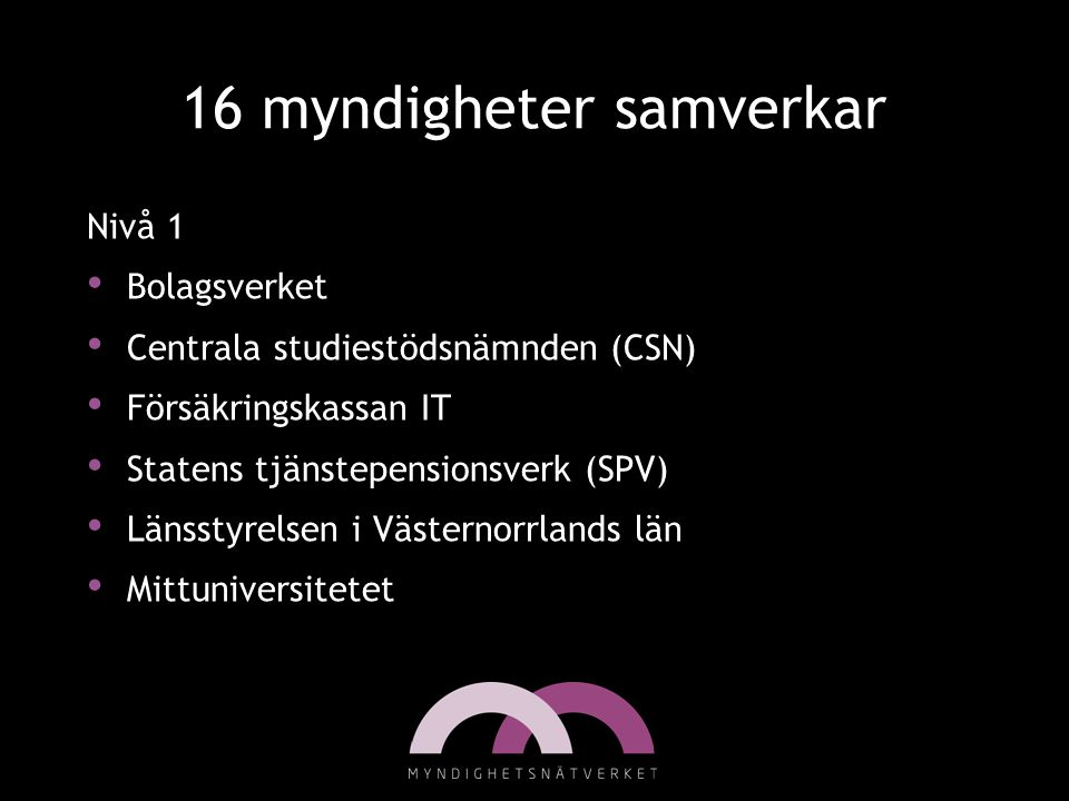 16 myndigheter samverkar Nivå 1 Bolagsverket Centrala studiestödsnämnden (CSN) Försäkringskassan IT Statens tjänstepensionsverk (SPV) Länsstyrelsen i