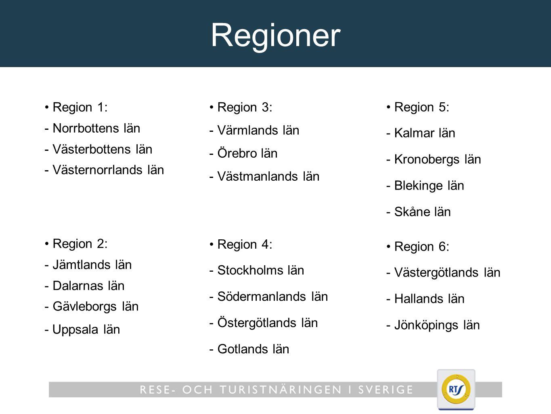 Regioner Region 1: - Norrbottens län - Västerbottens län - Västernorrlands län Region 3: - Värmlands län - Örebro län - Västmanlands län Region 5: - Kalmar län - Kronobergs län - Blekinge län - Skåne län Region 2: - Jämtlands län - Dalarnas län - Gävleborgs län - Uppsala län Region 4: - Stockholms län - Södermanlands län - Östergötlands län - Gotlands län Region 6: - Västergötlands län - Hallands län - Jönköpings län