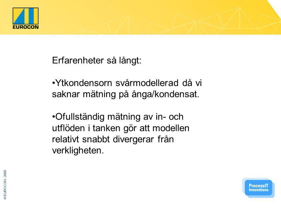 © EUROCON - 2008 Erfarenheter så långt: Ytkondensorn svårmodellerad då vi saknar mätning på ånga/kondensat.
