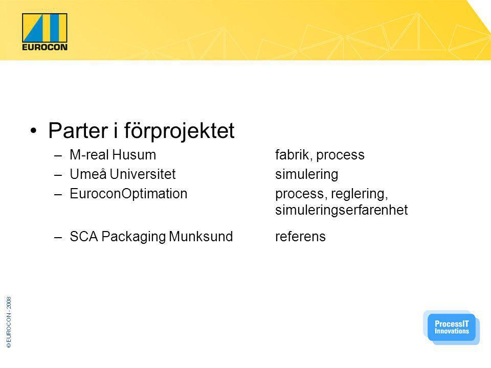 © EUROCON - 2008 Parter i förprojektet –M-real Husumfabrik, process –Umeå Universitetsimulering –EuroconOptimationprocess, reglering, simuleringserfarenhet –SCA Packaging Munksundreferens