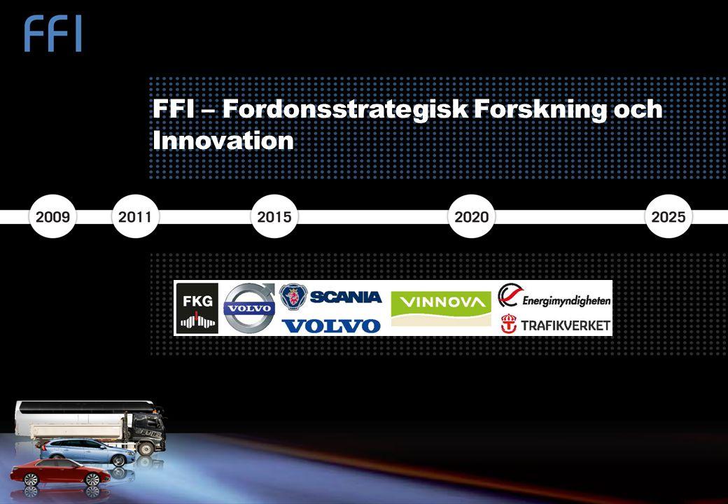 FFI – FORDONSSTRATEGISK FORSKNING OCH INNOVATION VINNOVA.SE/FFI FFI är ett samarbete mellan staten och fordonsindustrin om att finansiera forsknings-, innovations- och utvecklings- aktiviteter med fokus på områdena Klimat & Miljö samt Säkerhet.