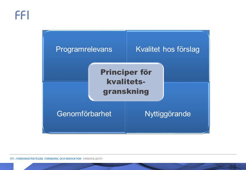 FFI – FORDONSSTRATEGISK FORSKNING OCH INNOVATION VINNOVA.SE/FFI ProgramrelevansKvalitet hos förslag GenomförbarhetNyttiggörande Principer för kvalitet