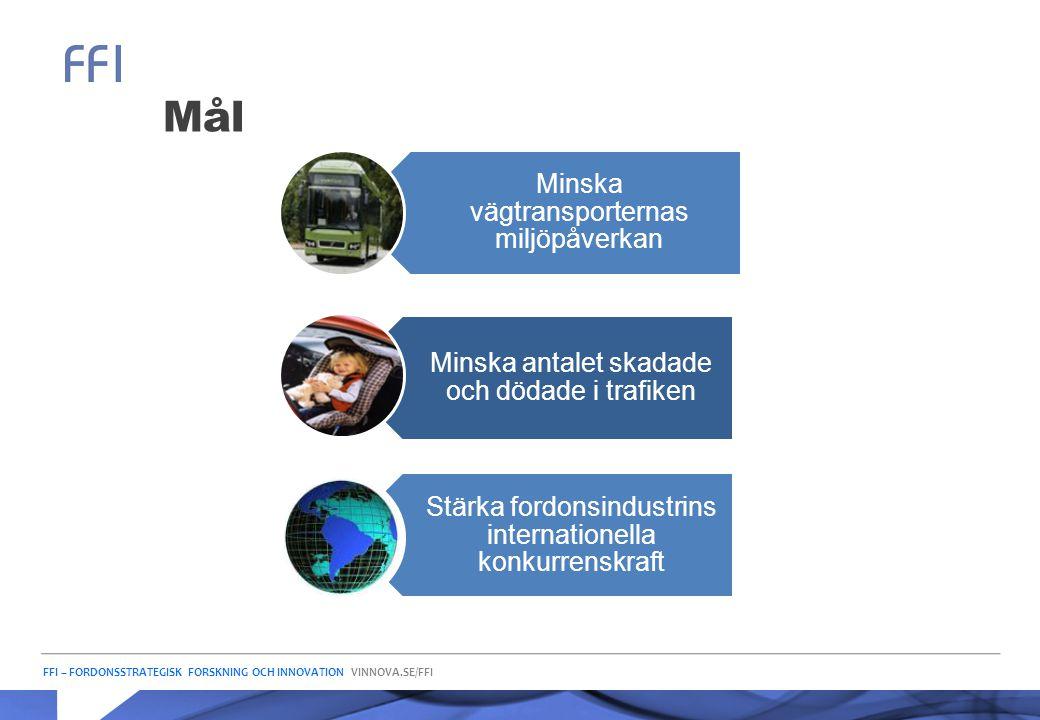 FFI – FORDONSSTRATEGISK FORSKNING OCH INNOVATION VINNOVA.SE/FFI Mål Minska vägtransporternas miljöpåverkan Minska antalet skadade och dödade i trafike