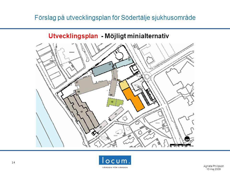 14 Förslag på utvecklingsplan för Södertälje sjukhusområde Utvecklingsplan - Möjligt minialternativ Agneta Philipson 13 maj 2009
