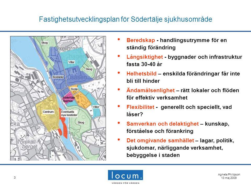 3 Fastighetsutvecklingsplan för Södertälje sjukhusområde Agneta Philipson 13 maj 2009 Beredskap - handlingsutrymme för en ständig förändring Långsikti