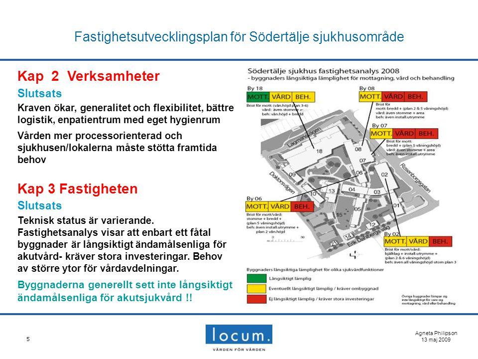 5 Fastighetsutvecklingsplan för Södertälje sjukhusområde Agneta Philipson 13 maj 2009 Kap 2 Verksamheter Slutsats Kraven ökar, generalitet och flexibi