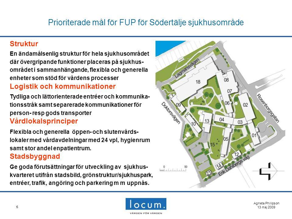 6 Prioriterade mål för FUP för Södertälje sjukhusområde Agneta Philipson 13 maj 2009 Struktur En ändamålsenlig struktur för hela sjukhusområdet där öv