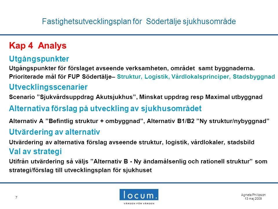 7 Fastighetsutvecklingsplan för Södertälje sjukhusområde Kap 4 Analys Utgångspunkter Utgångspunkter för förslaget avseende verksamheten, området samt