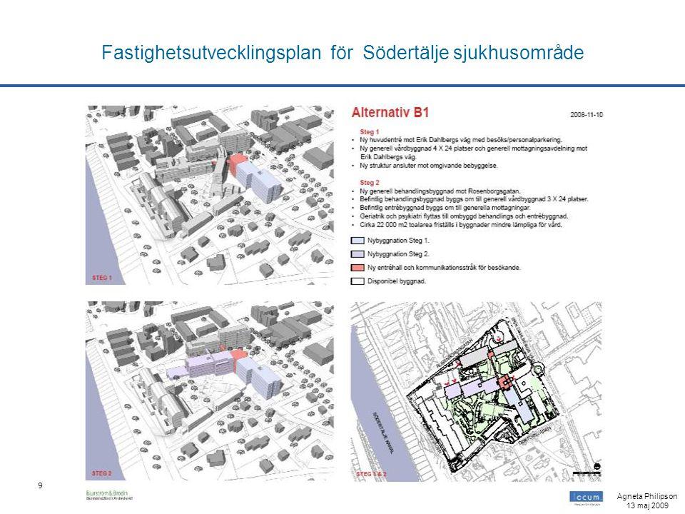 9 Fastighetsutvecklingsplan för Södertälje sjukhusområde Agneta Philipson 13 maj 2009