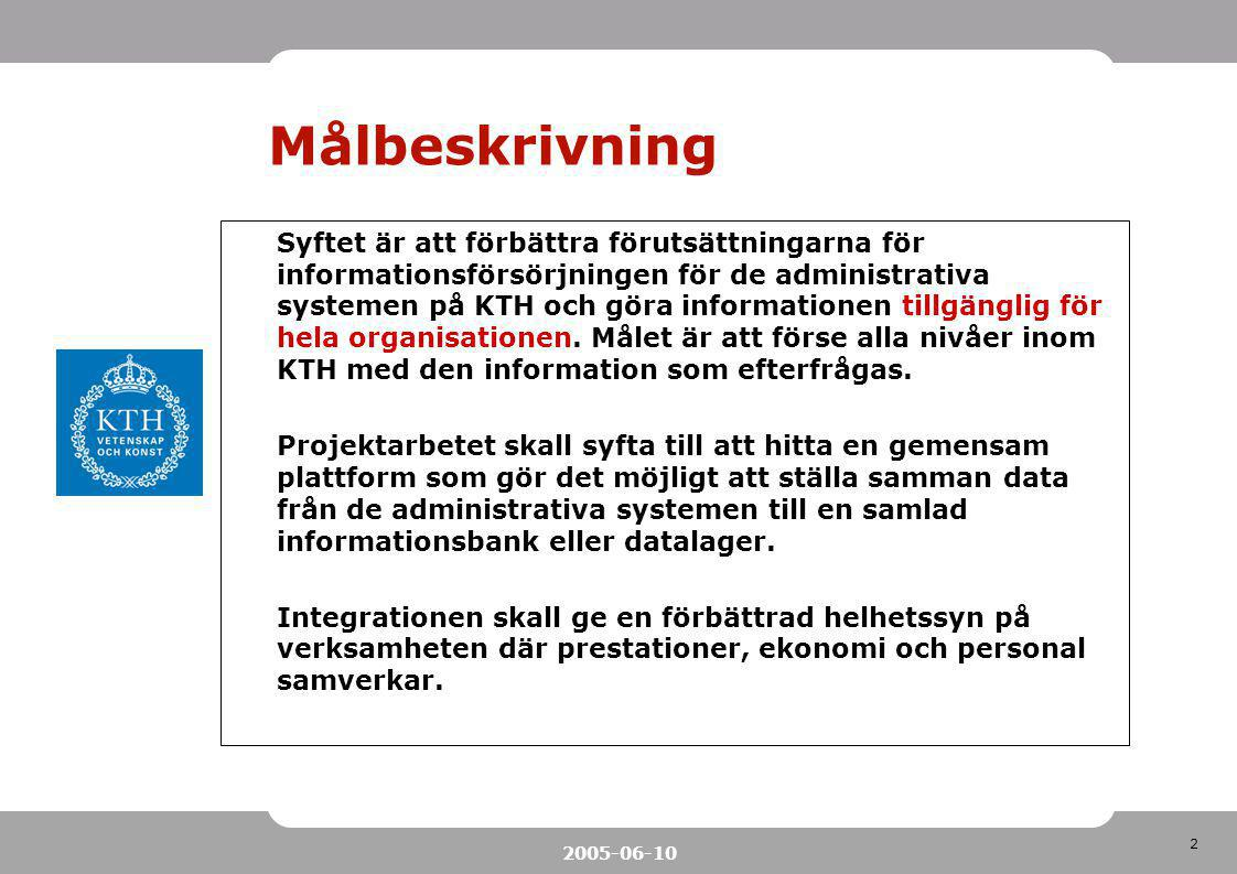 2 2005-06-10 Målbeskrivning Syftet är att förbättra förutsättningarna för informationsförsörjningen för de administrativa systemen på KTH och göra inf