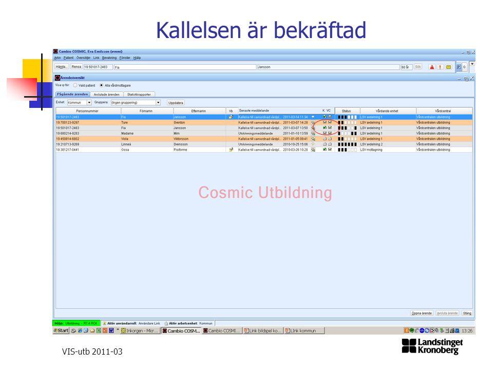Kallelsen är bekräftad VIS-utb 2011-03