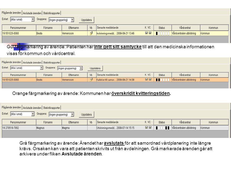 Gul färgmarkering av ärende: Patienten har inte gett sitt samtycke till att den medicinska informationen visas för kommun och vårdcentral. Orange färg