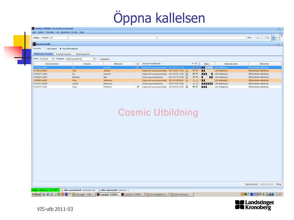 Öppna kallelsen VIS-utb 2011-03