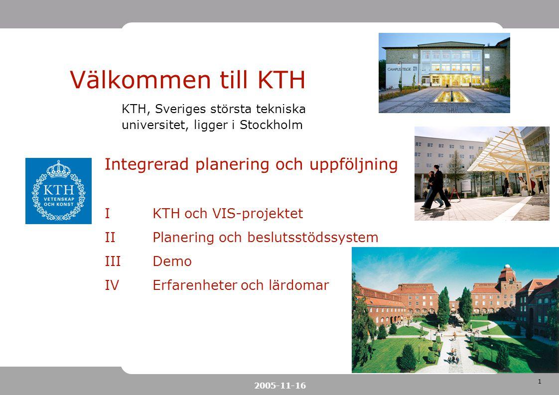 1 2005-11-16 Välkommen till KTH KTH, Sveriges största tekniska universitet, ligger i Stockholm Integrerad planering och uppföljning IKTH och VIS-proje