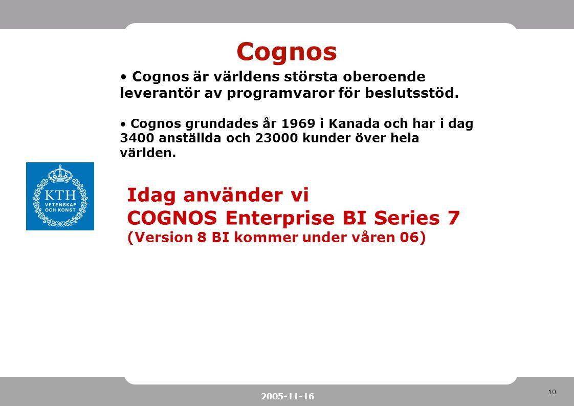 10 2005-11-16 Cognos Cognos är världens största oberoende leverantör av programvaror för beslutsstöd. Cognos grundades år 1969 i Kanada och har i dag
