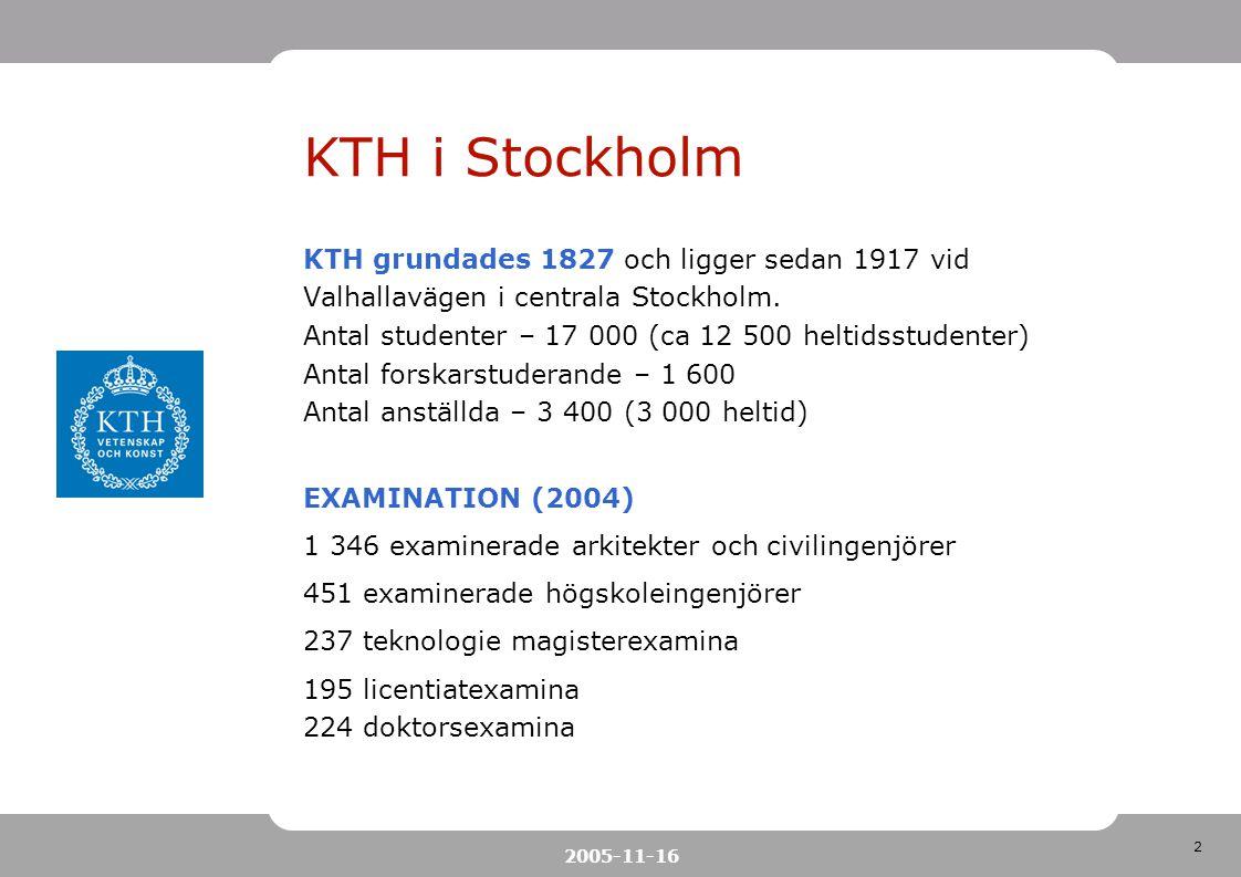 2 2005-11-16 KTH i Stockholm KTH grundades 1827 och ligger sedan 1917 vid Valhallavägen i centrala Stockholm. Antal studenter – 17 000 (ca 12 500 helt