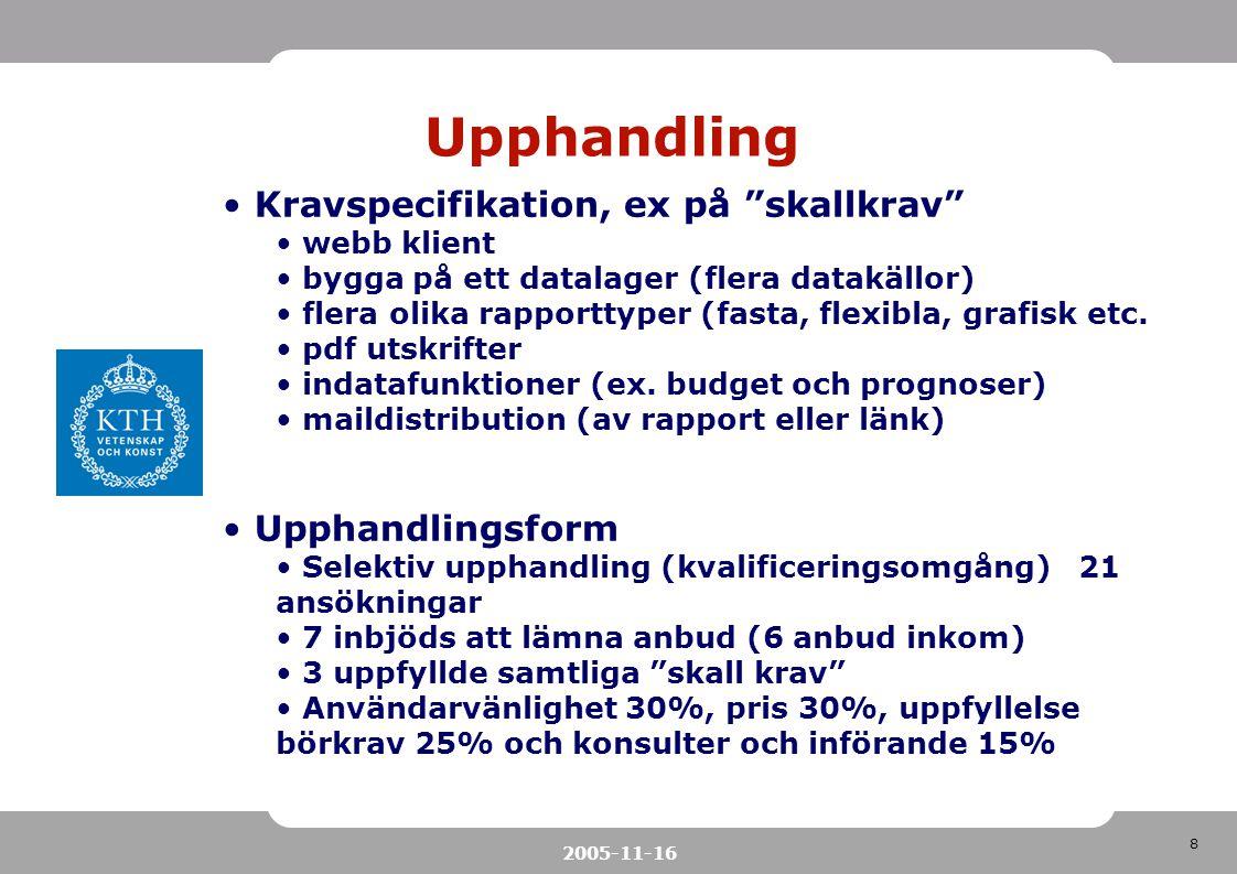 """8 2005-11-16 Upphandling Kravspecifikation, ex på """"skallkrav"""" webb klient bygga på ett datalager (flera datakällor) flera olika rapporttyper (fasta, f"""