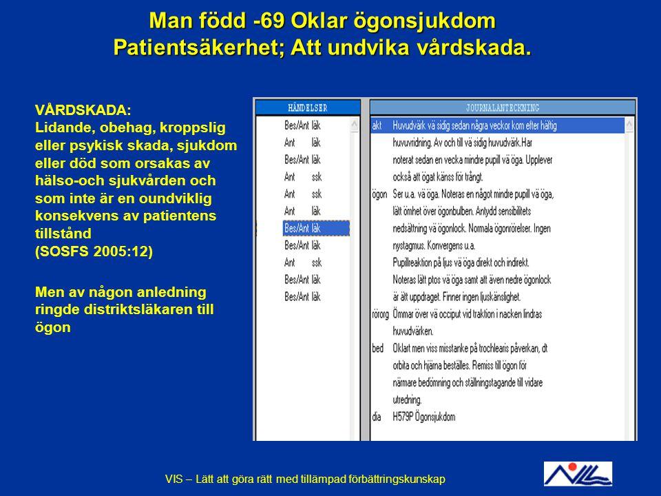 Man född -69 Oklar ögonsjukdom Patientsäkerhet; Att undvika vårdskada. VÅRDSKADA: Lidande, obehag, kroppslig eller psykisk skada, sjukdom eller död so