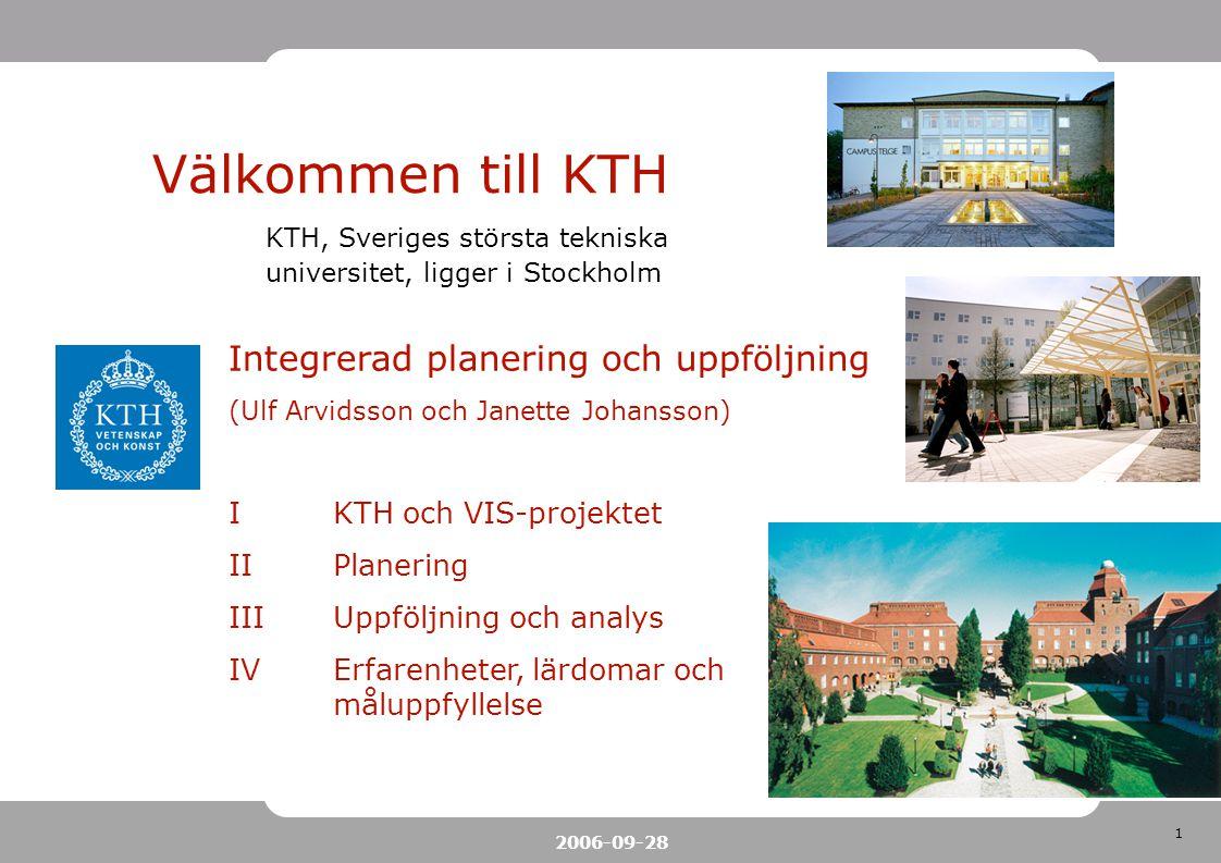 1 2006-09-28 Välkommen till KTH KTH, Sveriges största tekniska universitet, ligger i Stockholm Integrerad planering och uppföljning (Ulf Arvidsson och