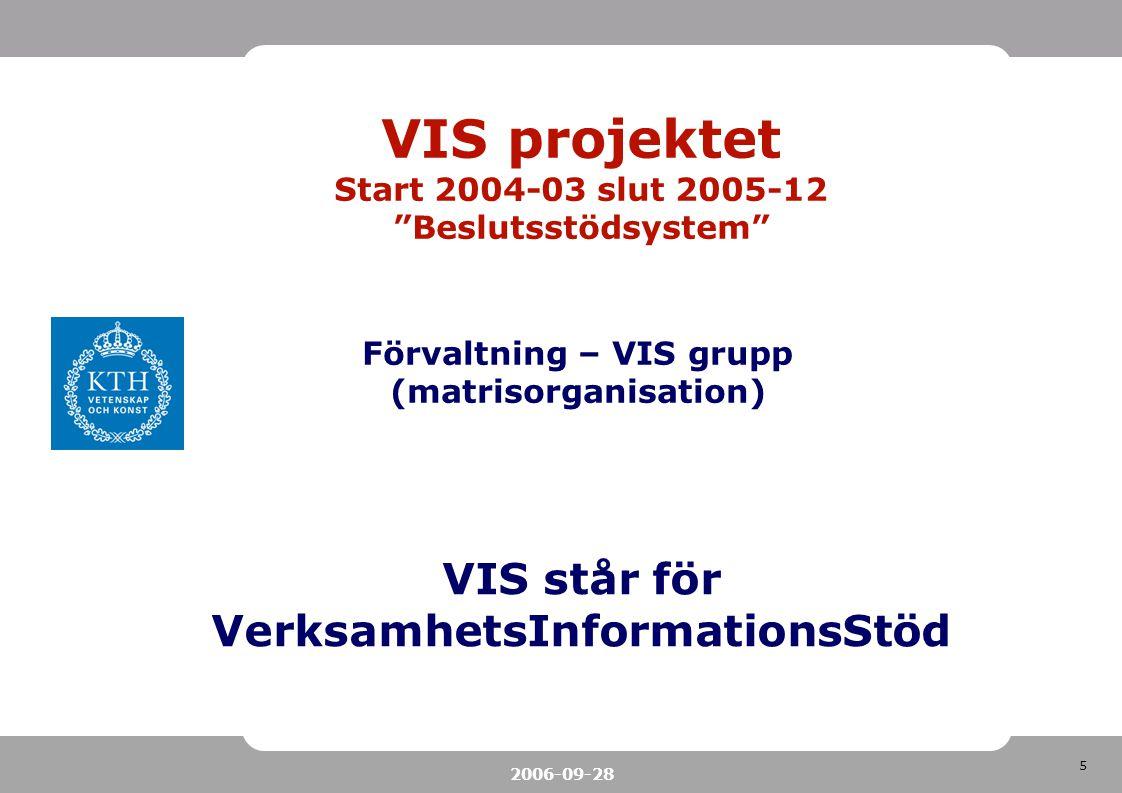 """5 2006-09-28 VIS projektet Start 2004-03 slut 2005-12 """"Beslutsstödsystem"""" VIS står för VerksamhetsInformationsStöd Förvaltning – VIS grupp (matrisorga"""