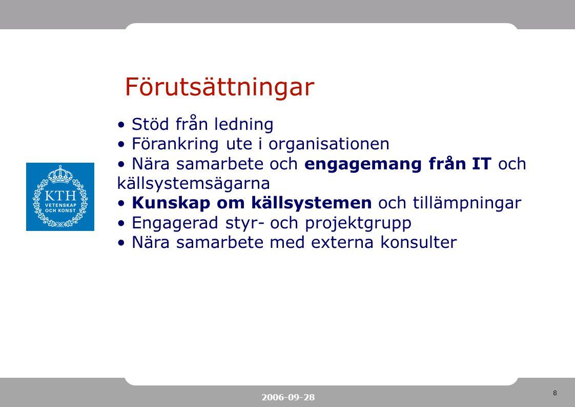 8 2006-09-28 Förutsättningar Stöd från ledning Förankring ute i organisationen Nära samarbete och engagemang från IT och källsystemsägarna Kunskap om