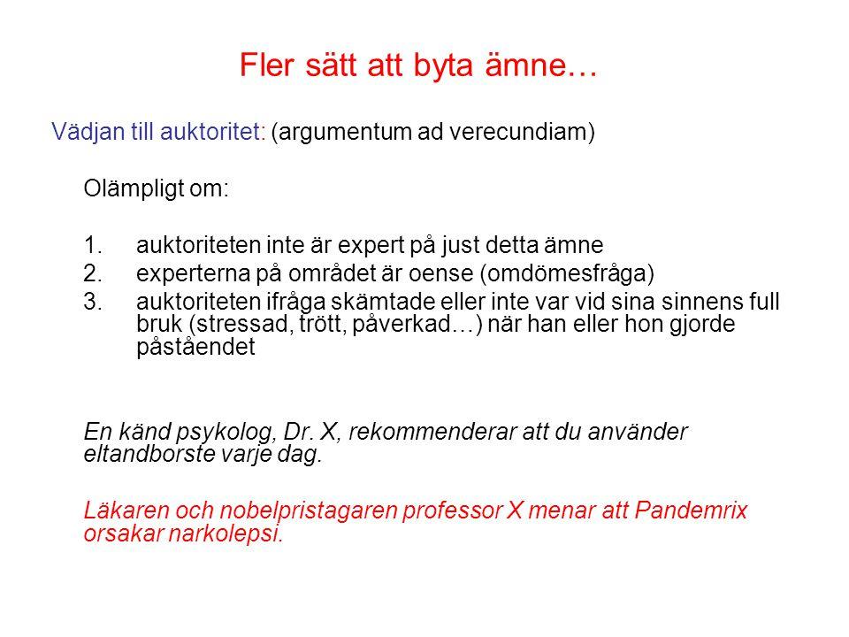 Fler sätt att byta ämne… Vädjan till auktoritet: (argumentum ad verecundiam) Olämpligt om: 1.