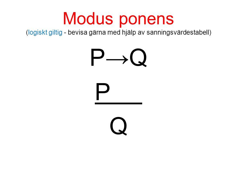 Modus ponens (logiskt giltig - bevisa gärna med hjälp av sanningsvärdestabell) P→Q P Q