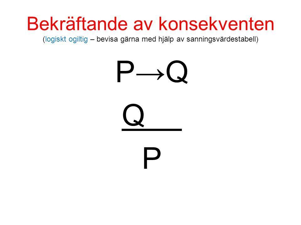 Bekräftande av konsekventen (logiskt ogiltig – bevisa gärna med hjälp av sanningsvärdestabell) P→Q Q P