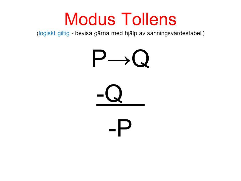 Modus Tollens (logiskt giltig - bevisa gärna med hjälp av sanningsvärdestabell) P→Q -Q -P