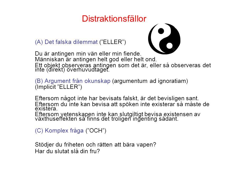 Distraktionsfällor (A) Det falska dilemmat ( ELLER ) Du är antingen min vän eller min fiende.