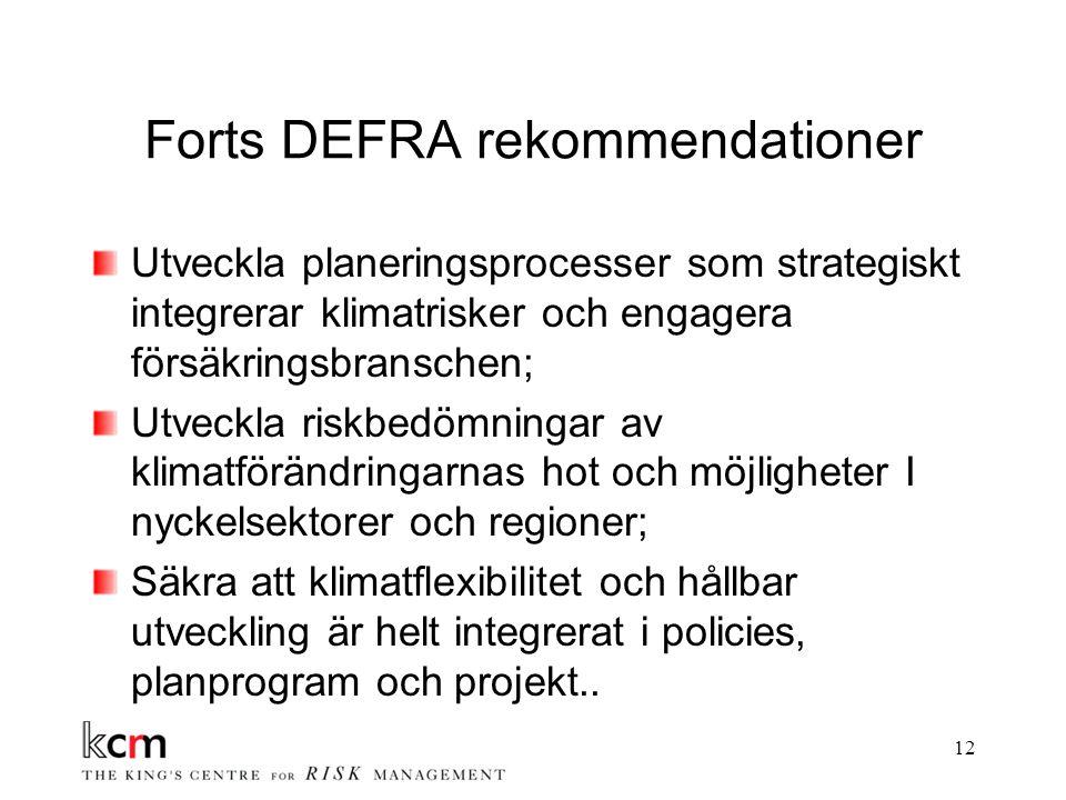 12 Forts DEFRA rekommendationer Utveckla planeringsprocesser som strategiskt integrerar klimatrisker och engagera försäkringsbranschen; Utveckla riskbedömningar av klimatförändringarnas hot och möjligheter I nyckelsektorer och regioner; Säkra att klimatflexibilitet och hållbar utveckling är helt integrerat i policies, planprogram och projekt..