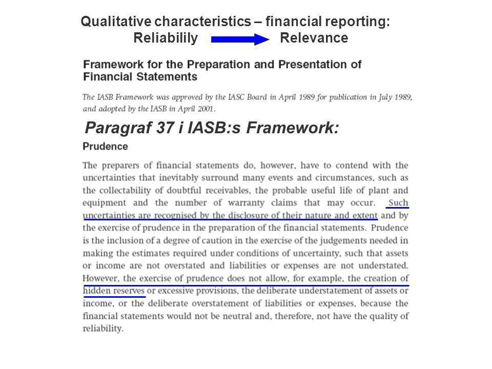 Paragraf 37 i IASB:s Framework: Qualitative characteristics – financial reporting: Reliabilily Relevance
