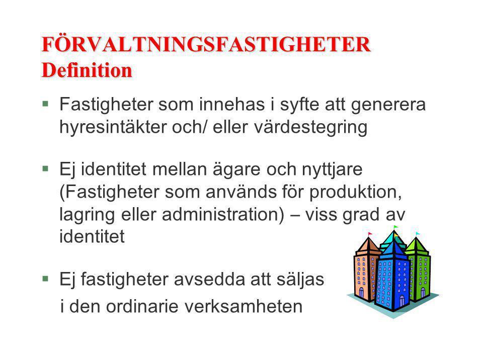 FÖRVALTNINGSFASTIGHETER Definition §Fastigheter som innehas i syfte att generera hyresintäkter och/ eller värdestegring §Ej identitet mellan ägare och