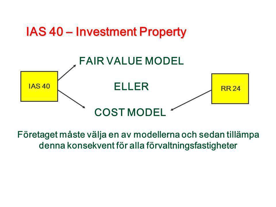 IAS 40 – Investment Property FAIR VALUE MODEL ELLER COST MODEL Företaget måste välja en av modellerna och sedan tillämpa denna konsekvent för alla för